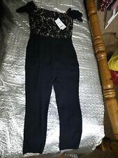 Black Next Bardot Lace playsuit Jumpsuit one piece uk petite 8 tapered leg bnwt