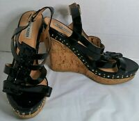 Steve Madden Womens Feaver Black Patent Leather Open Toe Wedge Shoes Size 10