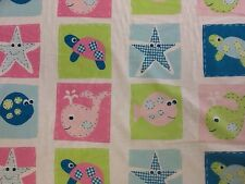 100% Cotton Children's Sheeting Fabric Sea Life Squares Pattern By The Metre