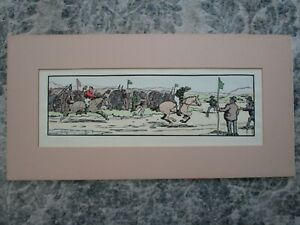 Jack B.Yeats Hand Colored Print Matted ~FINISH OF THE RACE- the Cuala Press