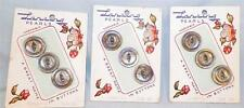 9 Smokey Mother of Pearl Buttons on Card Lansing 3 Cards Vintage Clothes