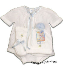 NWT Will'beth White Blue Knit 4pc Diaper Set Baby Boys Girls Hat Booties Preemie