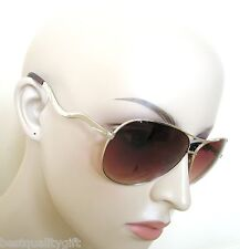 NEW GUESS GOLD FRAME+BROWN 100% UV CRYSTAL HEART LENS AVIATOR SUNGLASSES-7021