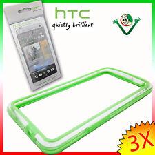 2X Pellicola originale HTC+BUMPER verde trasparente per One M7 custodia bordi