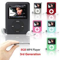 "Slim 8GB 1.8"" LCD MP4 Media MP3 Player Video Game Movie FM Radio Voice Recorder"