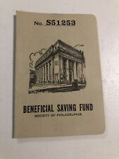 Vintage Beneficial Savings Fund Of Philadelphia Bank Book Date 1953