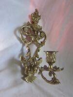 elegant vintage ornate brass sconce candle holder flower scroll detail wall deco