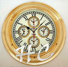 "17"" Polished Brass World Time Clock Nautical Ship's Wall Clock Beach House Decor"