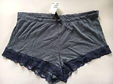 H&M Blue Grey Jersey Rib Lace Hem Shorts,viscose Cotton,super Soft,size M,NEW!
