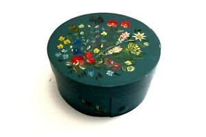 "Dutch Rosemaling Tole Painted Band Box 4"" Round Hand Painted From Holland"
