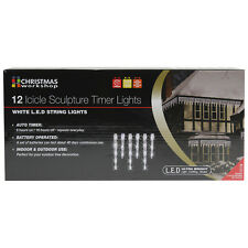 12 BIANCO LED ICICLE SCULTURA TIMER LUCI Indoor Outdoor CHRISTMAS XMAS LUCE