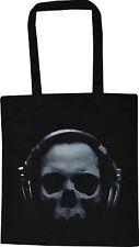 Cráneo con auriculares Negro Algodón Rave Gótico Punk Bolsón Para las compras Bolso esqueleto