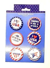 Lapel Pins Patriotic Buttons American Cutie Love Six Count Pack Lot of Two New