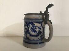 """Vintage German Beer Stein Blue Salt Glaze Signed Cet.1893, 6 1/4"""" T x 5 1/2"""" W"""