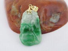 Vintage 14K SolidYG Natural Emerald Green Jadeite Jade Carved Ruyi Gourd Pendant