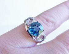 GENUINE 2.07ct! London Blue Topaz Solitaire Ring, Solid Sterling Silver 925.