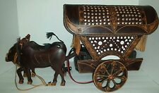 Rare Vintage Tooled Leather ox and cart lamp light