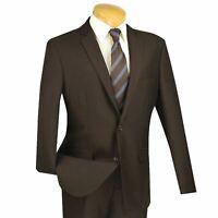 VINCI Men's Brown Textured Weave 2 Button Slim Fit Suit NEW