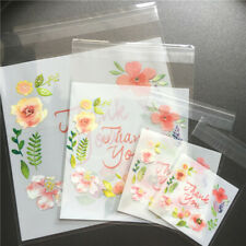 100X Plastic Thank You Floral Cookies Packaging Bag Candy Gift Bag Self-Adhesive