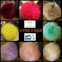 Keyring Pompom Keychain 8 cm Bag Charms Ball Real Rabbit Fur Genuine Soft Fluffy