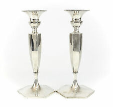 Pair Theodore B. Starr Sterling Silver Candlesticks Hand Chased & Beaded 16toz