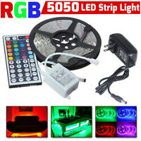 5m RGB 5050 DE COLORES TIRA DE LUCES LED Decoración SMD 44 Llave a distancia 12v