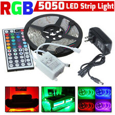 5M RGB 5050 Colorful LED Strip Light Decor SMD 44 Key Remote 12V Supply Power