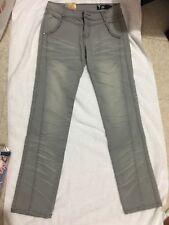 Women Denim Low Waist Straight Gray Rhinestone Embellished Pants Jeans Size 28.
