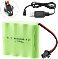 2400mAh 4.8V Ni-MH Battery Pack w/ SM-2P 2Pin Plug + Charger for RC Cars Truck