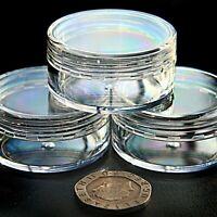 CLEAR PLASTIC SMALL SAMPLE JARS POT GLITTER CREAM COSMETIC NAIL ART STORAGE jfc