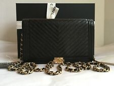 Auth BNIB Chanel Boy WOC Caviar Black Chevron Wallet On A Chain Bag Clutch 2018