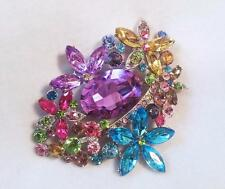 GORGEOUS Large Multi Colored Rhinestone Brooch Pin Silver Setting