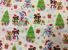 Fat Quarter Puppy Dog Christmas Allover 100% Cotton Quilting Fabric