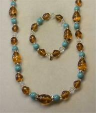 JOAN RIVERS GOLD EP CRY, TURQUOISE & AMBER GLASS BEAD NECKLACE BRACELET SET NEW