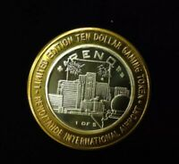 $10 .999 SILVER RENO TAHOE INT AIRPORT,NV LIMITED EDITION CASINO TOKEN Lot#AB71