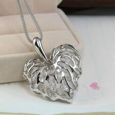 Gold Silver Women's Hollow Crystal Rhinestone Heart Pendant Long Chain Necklace