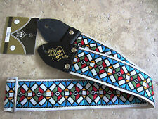 D'Andrea ACE VINTAGE REISSUE Guitar Strap STAINED GLASS BLUE Woven JIMI HENDRIX