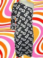 300✪ Hippie one Shoulder Kleid Blumen Festival 70er Jahre schwarz weiß Gr S - M