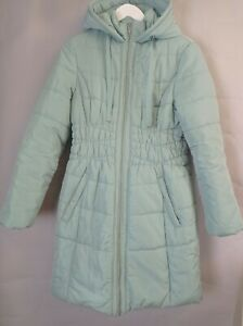 M&S Ladies Puffer Parka Coat Size 12 Mint Green Padded Hooded Quilted Winter