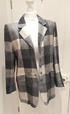 Vtg 90s Boxy Navy Blue Grey Wool Boyfriend Blazer Coat Jacket Check Tartan Sz 14