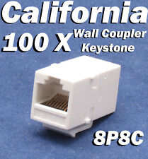 100 pcs Lot CAT6 Inline RJ45 Keystone Wall Coupler Jack Adapter 8P8C White 6e