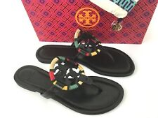 Tory Burch MILLER Flip Flop Thong Black Leather Sandal 8.5 US