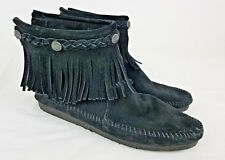 Minnetonka Black Leather Moccasin Fringed Ankle Boots Women's Flats Size 8