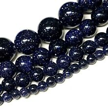 Blue Gold stone Round Beads 15.5