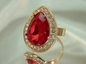 Adjustable Large Gold Tone Ruby Red Rhinestone Teardrop XX Pretty Ring  816o9