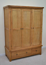 Oak Three Door Solid Triple Wardrobe With Storage Drawers Beaufort