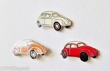 VW Type 1 Beetle Pin Badge Set - Clementine, Red & White - P110S