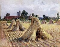 Corn Stooks by Bray Church-British Heywood Hardy. Canvas Fine Art. 11x14 Print