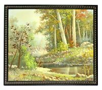 Country Stream Forest Landscape 20 x 24 Art Oil Painting on Canvas w/ Wood Frame