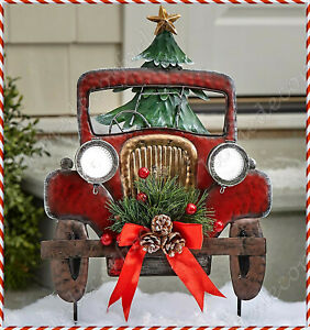 Solar Lighted Vintage Red Pickup Truck Yard Stake Outdoor Christmas Holiday Home